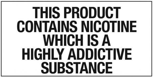 Nicotine warning